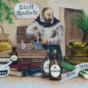 Bild Apotheker an der Fassade im Hinterhof - Wandmalereien Uwe Gloge-Häntschel  Bischofswerda